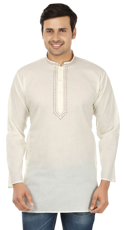 Cotton Dress Mens Short Kurta Shirt India Fashion Clothes (Off-White, M)