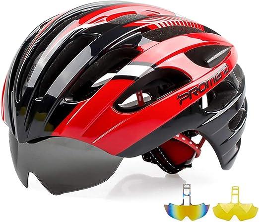 ZYHA Casco Bicicleta,Casco para Bicicleta de Carreteracon, Ajustable Magnético Gafas Desmontables,protección de Seguridad Casco con ventilación de ventilación,para Montaña: Amazon.es: Hogar