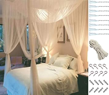 Mosquito NET for Bed Canopy, Four Corner Post Curtains Bed Canopy Elegant  Mosquito Net Set, Stick Hook &Profession Rope for net, Screen Netting  Canopy ...