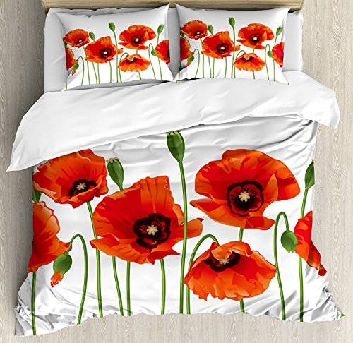 Poppies Quilt Fabric (Ambesonne Floral Duvet Cover Set King Size, Poppies of Spring Season Pastoral Flowers Botany Bouquet Field Nature Theme Art, Decorative 3 Piece Bedding Set with 2 Pillow Shams, Red and Green)