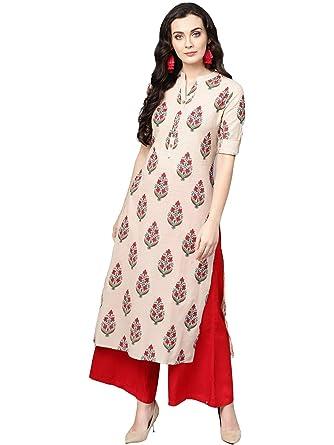 4e55e1d55c Varanga Beige printed straight kurta.: Amazon.in: Clothing & Accessories