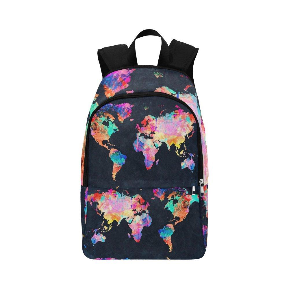 Love Nature Custom World Map Laptop Backpack Adult Casual Back Pack College Travel Backpack Bag Satchel Bookbag for Women and Men