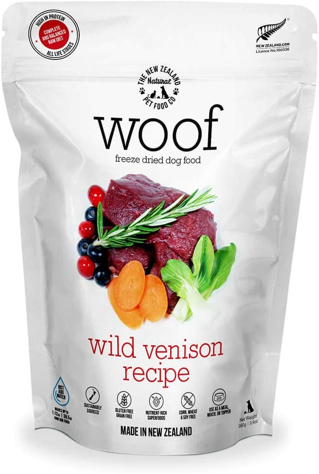 The New Zealand Natural Pet Food Co. WOOF Wild Venison Freeze Dried Raw Dog Food, Mixer, or Topper - High Protein, Natural, Limited Ingredient Recipe 9 oz, Brown (NZ-WFD280V)