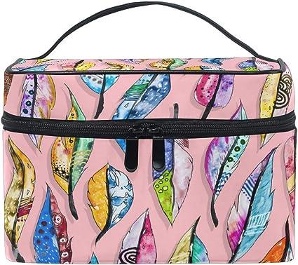 Bolsa de maquillaje de viaje Pintura al óleo Pluma bohemia Estuche cosmético portátil Organizador Bolsa de aseo Bolsa de maquillaje Estuche de tren para mujeres Niñas: Amazon.es: Belleza