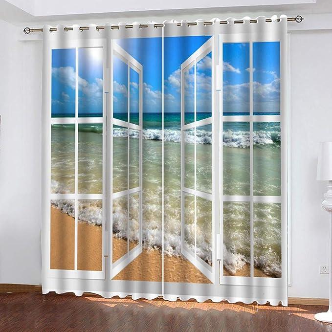 Fiosoji Cortinas de Salon Modernas,Impresión de la Serie de Playa,visillos Dormitorio niña,Estilo Rural,132x160cmx2pc: Amazon.es: Hogar