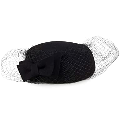 14ec1400 Whiteley Hats Veda Bow Pillbox Hat with Veil - Black 1-Size: Amazon ...