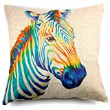 "Phantoscope Premier Print Colorful Zebra Linen Throw Pillow Case Cushion Cover 18 ""X18 "" -- New!!"