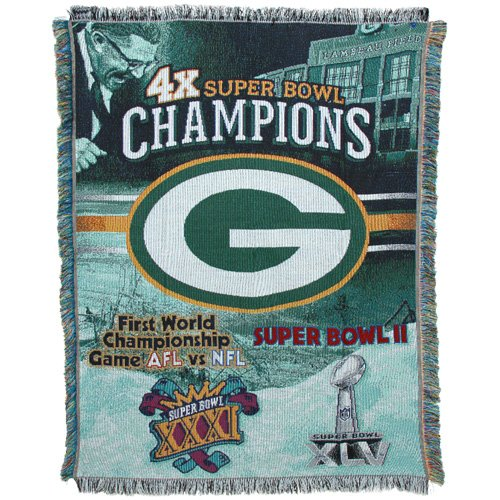 Green Bay Packers Super Bowl XVL Champions 4-Time Champs Triple Woven (Northwest Super Bowl Blanket)