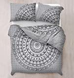 Bedding Sets - Mandala King Size QUILT With Pillow Covers – 100% Cotton Bohemian Urban Hippie Blanket - Queen Bed Cover by Craft N Craft India