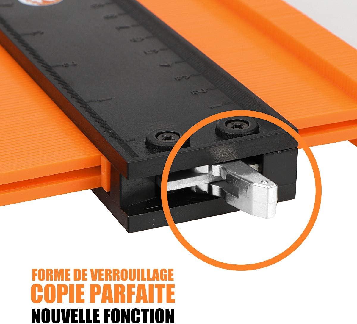creuse en plastique forme Duplicateur Profile Gauge Contour Gauge avec serrure 10 pouces