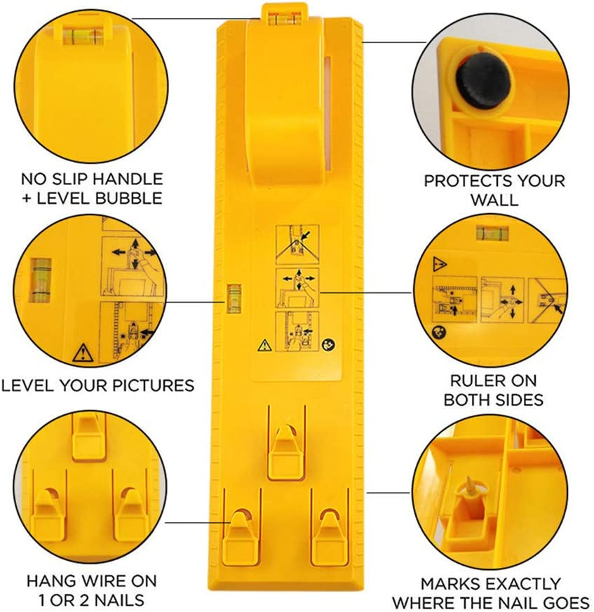 Aufh/ängungsmessung Markierungspositionswerkzeug Wasserwaage-Messwerkzeug Bilderrahmen-Aufh/änger DIY-Handwerkzeug Multifunktions-Nivellierlineal Bildaufh/ängevorrichtung zum Markieren 3pcs