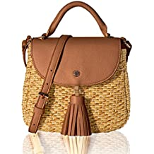 The Lovely Tote Co. Women's Straw Crossbody Bag Woven Cross Body Bag Shoulder Top Handle Satchel