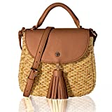 The Lovely Tote Co. Women's Straw Crossbody Bag Woven Cross Body Bag Shoulder Top Handle Satchel, Brown