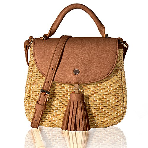 The Lovely Tote Co. Women's Straw Crossbody Bag Woven Cross Body Bag Shoulder Top Handle Satchel, Brown by The Lovely Tote Co.