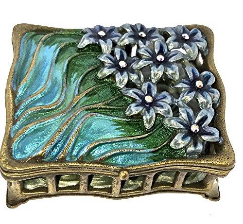 Blue Iris Flowers Floral Jewelry Trinket Box Pewter Bejeweled Swarovski Crystals Enameled Hinged Collectibles
