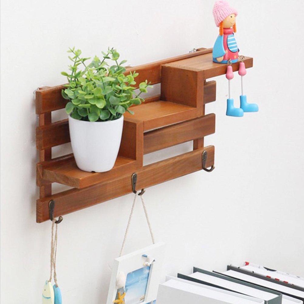 Ozzptuu Retro Wooden Wall Shelf With 3 Key Hooks 3-Tier Board Ladder Hanging Shelf Shelves Coat Racks Bookcases For Hallway/Office/Bathroom/Kitchen (Brown)