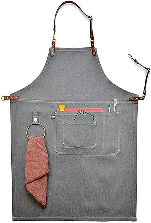S cleanpower Unisex Gray Manual Denim Bib Aprons Leather Strap Chef Kitchen BBQ Tool Pocket Apron