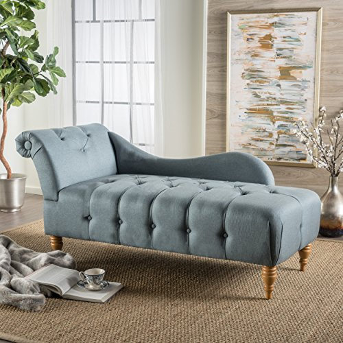 Christopher Knight Home 300524 Antonya Fabric Tufted Chaise Lounge Blue Gray