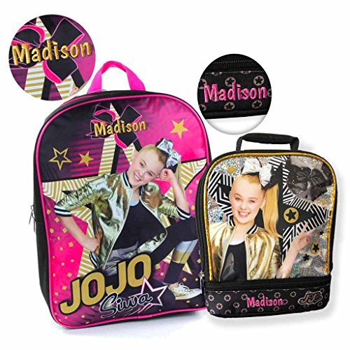 Personalized Licensed 15 Inch Character Backpack (JoJo Siwa Backpack and Lunch Bag Combo) -
