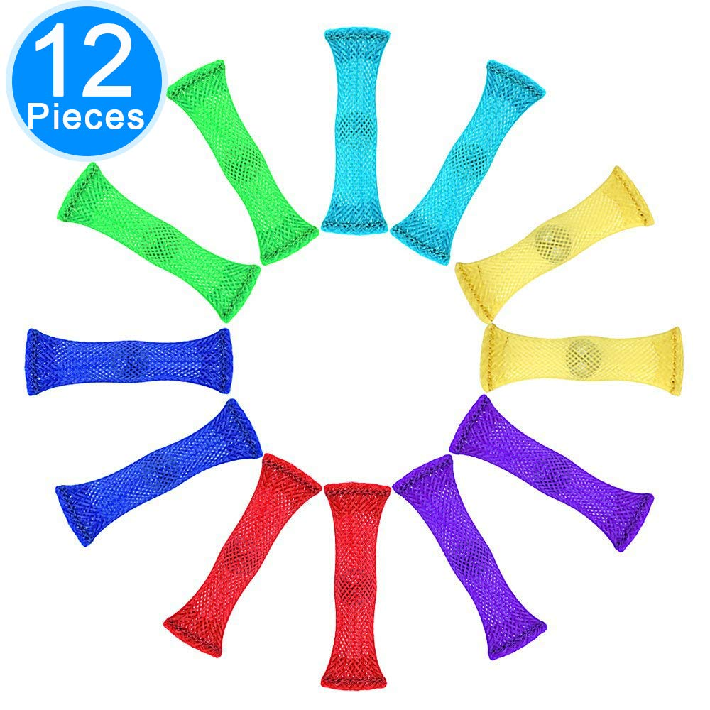 Pack of 12, 6 colors Kid and those with ADHD ADD OCD Autism Anxiety Increase Focus Relieve Stress by Austor Soothing Marble and Mesh Fidgets for Children Fidget Toys Adults