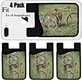 Liili Phone Card holder sleeve/wallet for iPhone Samsung Android and all smartphones with removable microfiber screen cleaner Silicone card Caddy(4 Pack) IMAGE ID 33684003 Antique or retro rusty bicy