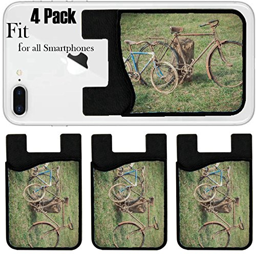 Liili Phone Card holder sleeve/wallet for iPhone Samsung Android and all smartphones with removable microfiber screen cleaner Silicone card Caddy(4 Pack) IMAGE ID 33684003 Antique or retro rusty bicy by Liili