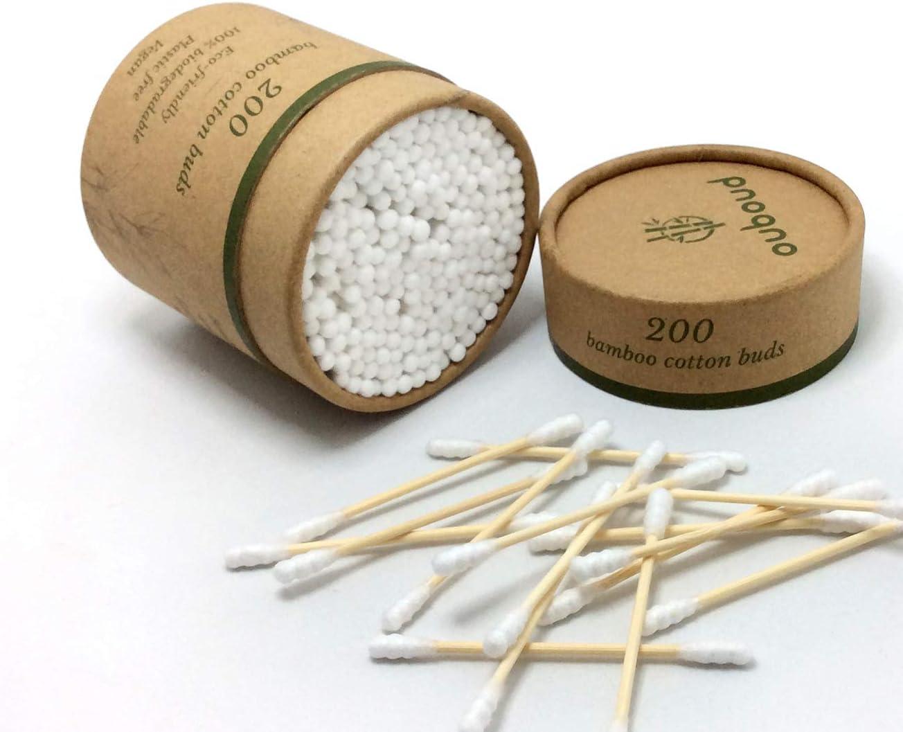 200 capullos de algodón de bambú, algodón blanco en forma de ...