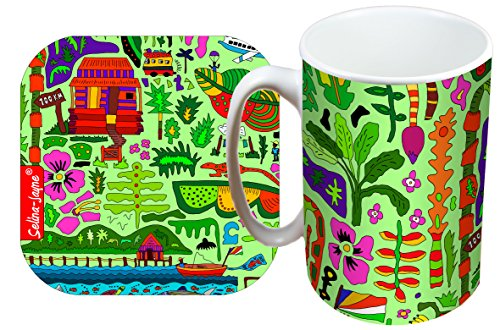 (Selina-Jayne Tropical Paradise Limited Edition Designer Mug and Coaster Gift Set)