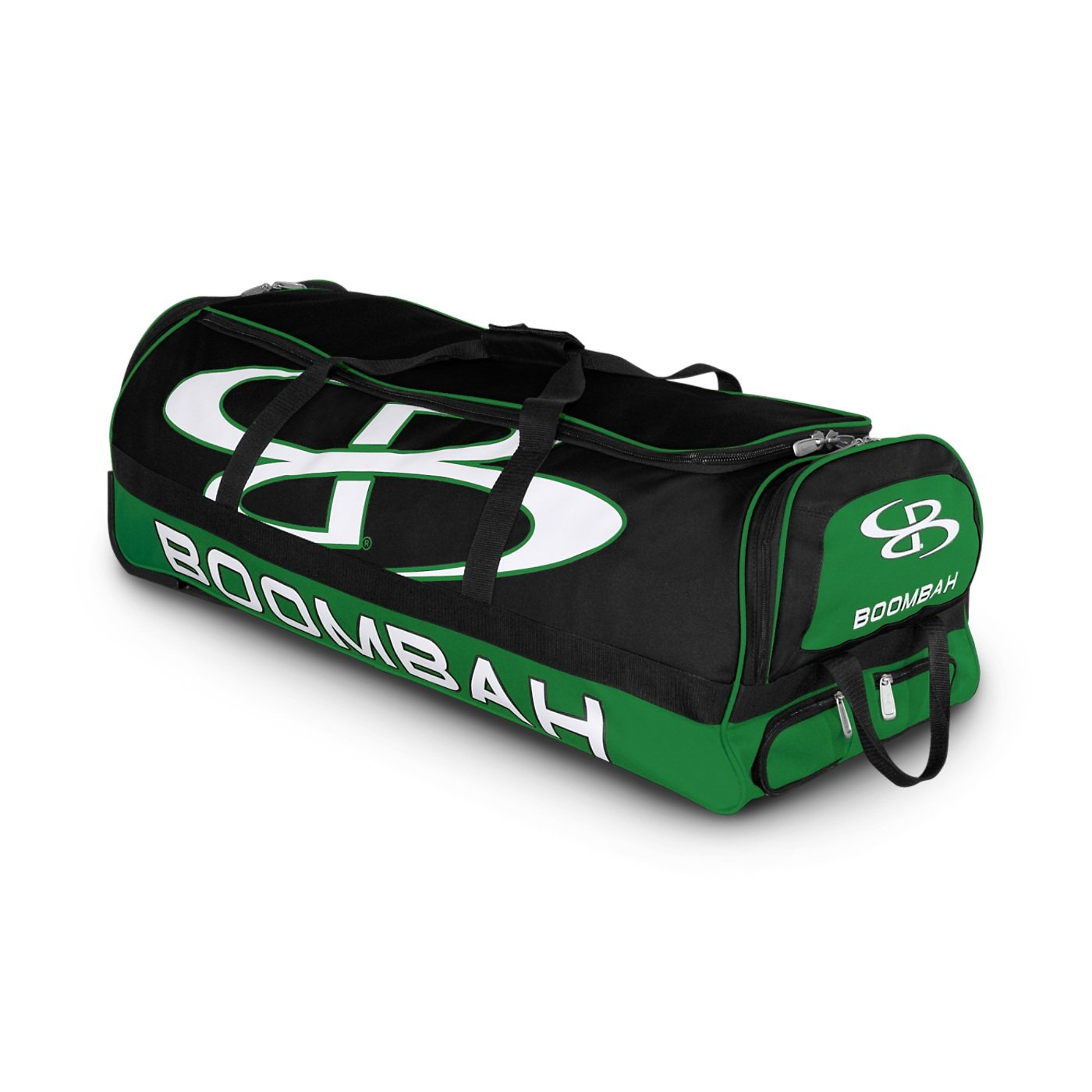 Boombah Brute Rolling Baseball / Softball Bat Bag - 35'' x 15'' x 12-1/2'' - Black/Kelly Green - Holds 4 Bats and Room for Gear - Wheeled Bag