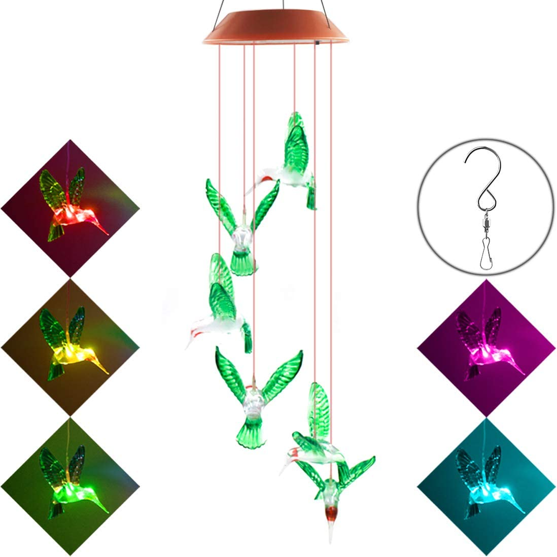 Xingpold Solar Hummingbird Wind Chime String Lights, Color Changing LED Mobile Hummingbird Wind Chimes, Waterproof Outdoor Solar Lights for Christmas Home Yard Patio Garden Decoration.