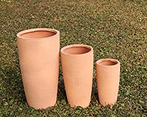 46cm tall round fibreclay garden planter come in a textured terracotta coloured textured effect. Reinforced Terracotta coloured Fibreclay garden pot. Frost resistant