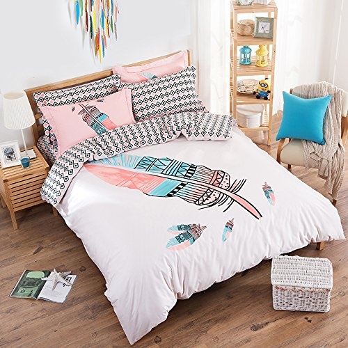 Beach Bedding Set-Boho Pink Feather Duvet Cover Set