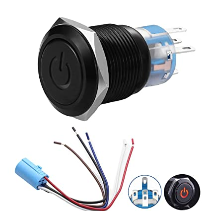 quentacy 19mm latching push button switch 12v power symbol light 1no1nc spdt  on/off black