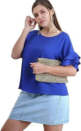 Umgee Women's Bohemian Layered Ruffle Sleeve Blouse Tunic Top