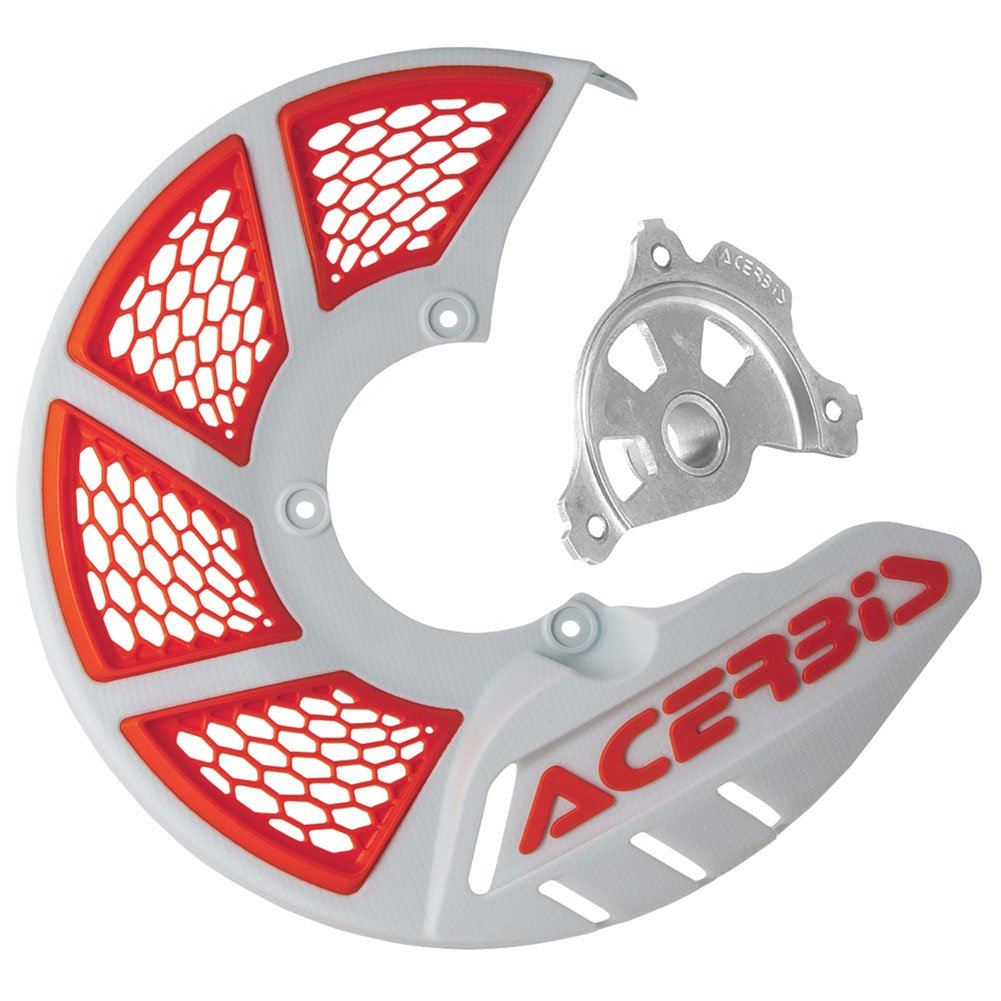 Acerbis X-Brake Vented Front Disc Cover with Mounting Kit White/16 KTM Orange – Fits: KTM 300 XC-W Six Days 2016–2018
