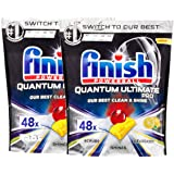 2 x 48pk Finish Powerball Quantum Ultimate Pro Lemon Sparkle Dishwasher Tablets