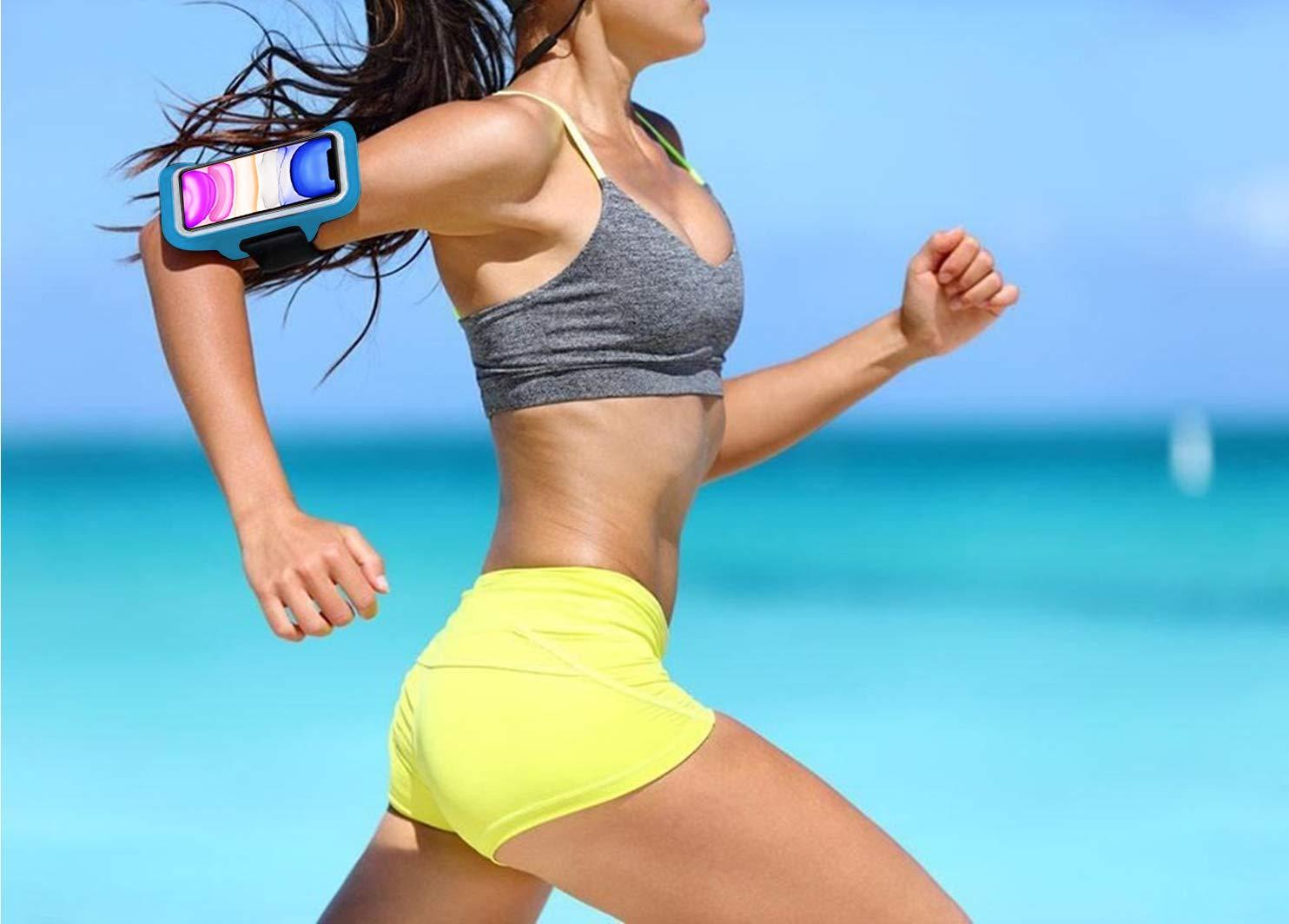 Azul Brazalete Deportivo para Correr Running valido Smartphones hasta 6.8 Neopreno Ajustable Velcro antisudor Antideslizante Brazalete movil Funda movil Bolsillo para Auriculares Llaves