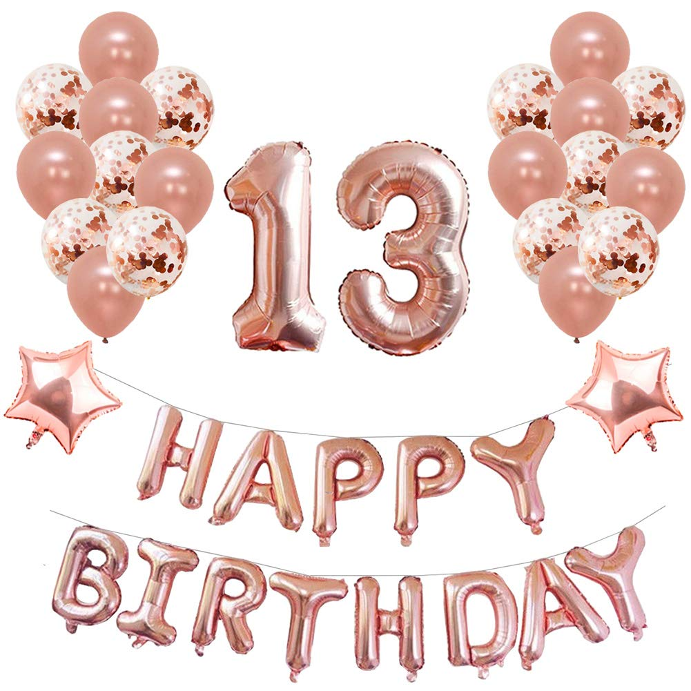 Yoart 13th Birthday Decorations Rose Gold For Girl Party