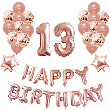 Yoart 13th Birthday Decorations Rose Gold For Girl Party Supplies 39 Piece With Happy