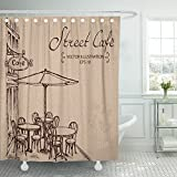 Emvency Shower Curtain Waterproof Decorative Bathroom 72 x 78 inches Brown Coffee French Street Cafe Hand Drawn Sketch Table Bistro Outdoor Restaurant Polyester Fabric Set with Hooks