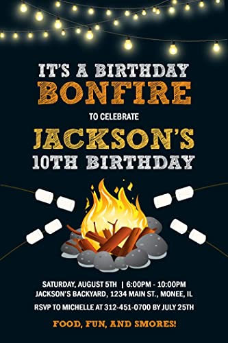 Amazon Com Bonfire Birthday Party Invitations Boy Bonfire