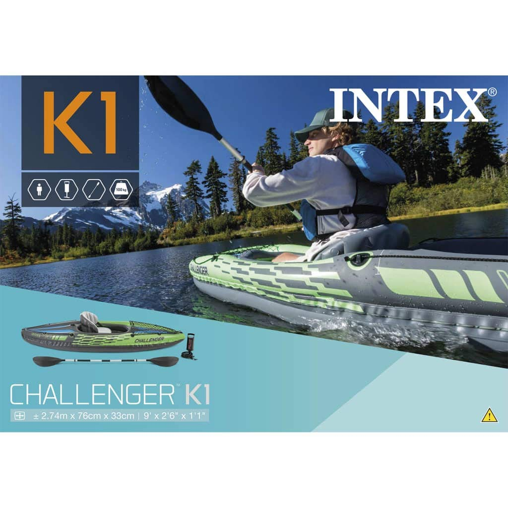 vidaXL Intex K1 - Kayak Hinchable (274 x 76 x 33 cm): Amazon ...