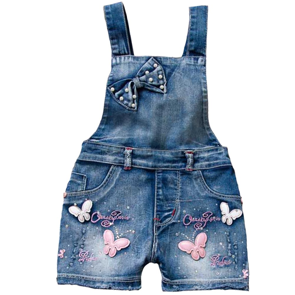 YAO Summer Little Girls Cotton Denim Bib Braces Rompers