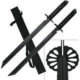 "2PC Combo Full Tang 28"" Tanto Ninja Katana Twin Sword Machete w/ Nylon Sheath + Black Chinese Engraved on Blade Edition"