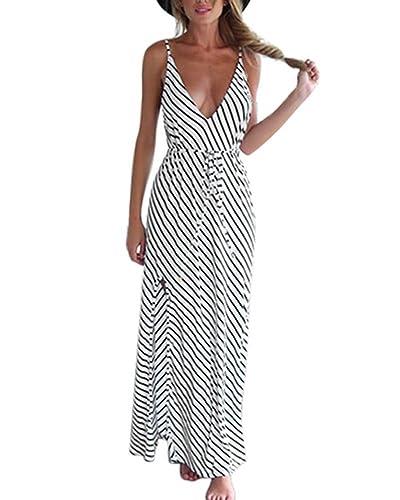 Minetom Donna Estivi Beach Vestiti Lungo Abito A Righe Maxi Dress da Sera Eleganti Vestito da Sera L...