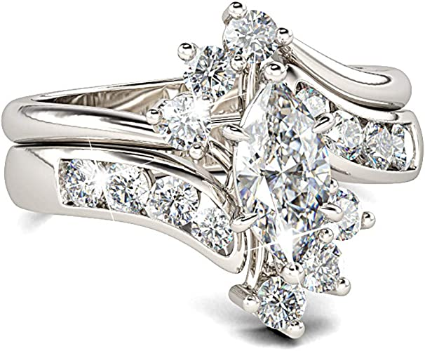Amazon Com Jeulia Marquise Cut Wedding Set Sterling Silver Bypass Rings With Cubic Zirconia White Diamond Solitaire Engagement Rings Promise Anniversary With Gift Box Jewelry
