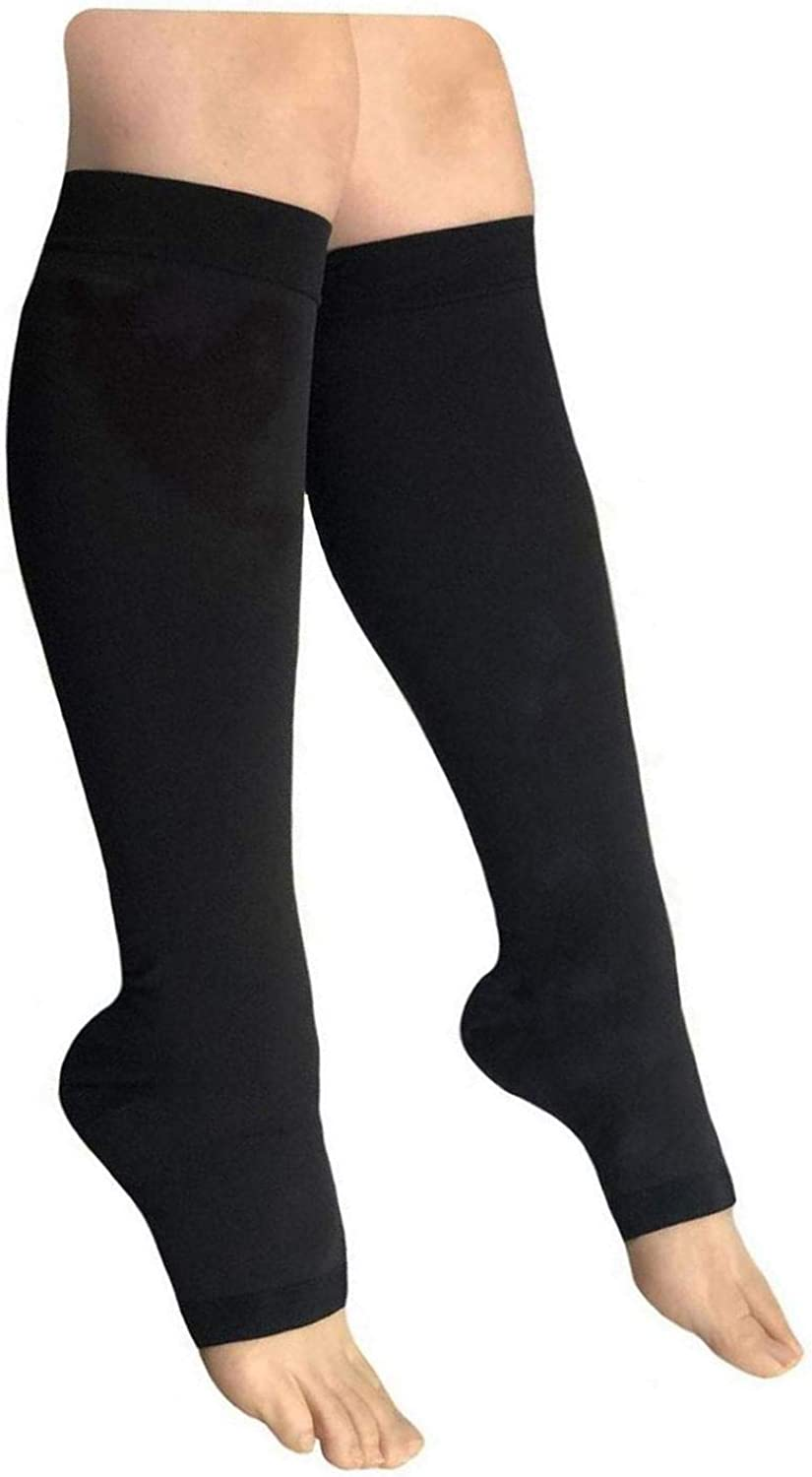 HealthyNees Open Toe 30-40 mmHg Extra Firm Compression Edema Sock Calf Support