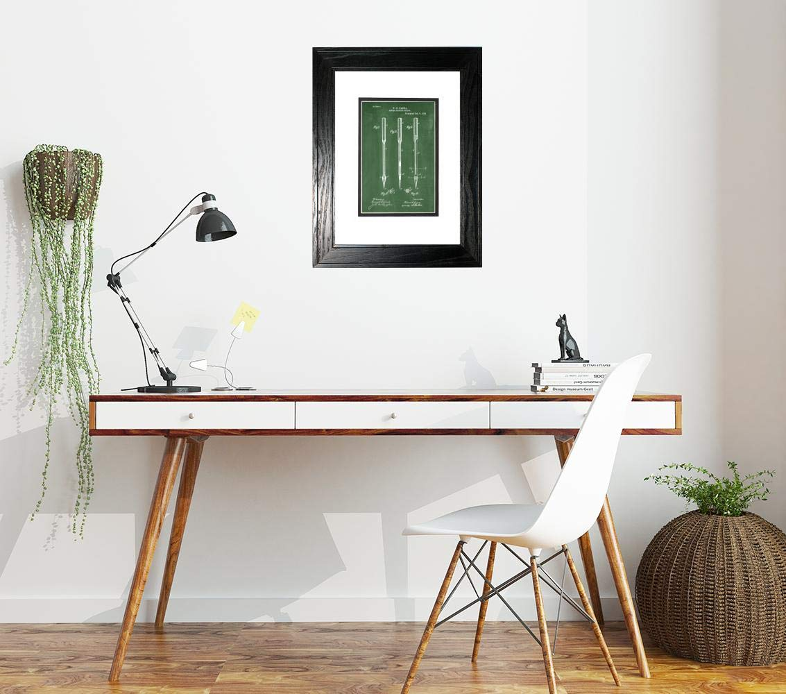 Sewing Machine Needle Patent Art Green Chalkboard Print in a Black Pine Wood Frame with a Double Mat (13'' x 19'') M15828 by Frame a Patent (Image #2)
