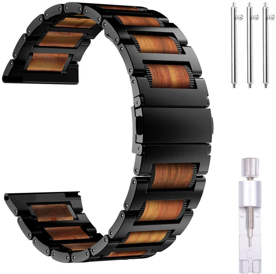 iiteeology Compatible with Samsung Galaxy Watch 46mm Band, Gear S3 Band, Natural Wooden Red Sandalwood Stainless Steel Link Bracelet Band for Samsung Gear S3 Classic/Frontier (Black)