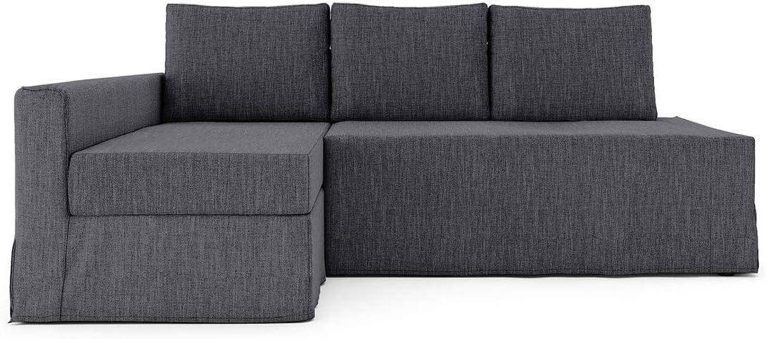 Funda para sofá cama de 3 plazas de poliéster SC para sofá cama de 3 plazas IKEA Friheten y funda de sofá seccional (funda de sofá cama no incluida), poliéster, Gris oscuro-l, chaise lounge on Left 06
